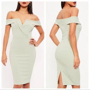 Missguided Off Shoulder Bardot Plunge Midi Dress 4